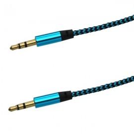 Textilný AUX kábel 2x3.5mm, modro-čierny