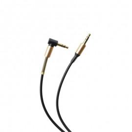 Lomený AUX kábel 2x3.5mm jack čierny 1m