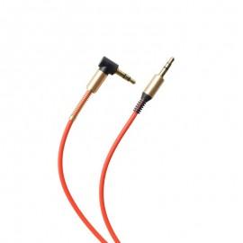 Lomený AUX kábel  2x3.5mm jack červený 1m