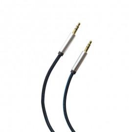 Pletený AUX kábel  2x3.5mm jack čierno-modrý 1m