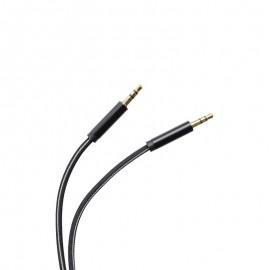 Pletený AUX kábel  2x3.5mm jack čierny 1m