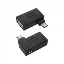 OTG Micro USB adaptér čierny, lomený