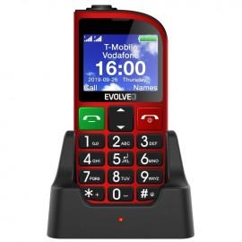 Evolveo EasyPhone FM, Red + nabíjací stojan - SK distribúcia