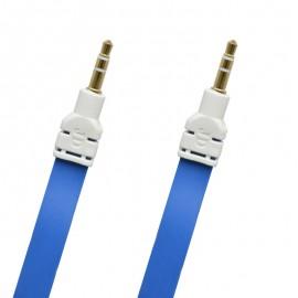 AUX modrý plochý 3m kábel 2x3.5mm jack (ECO balenie)