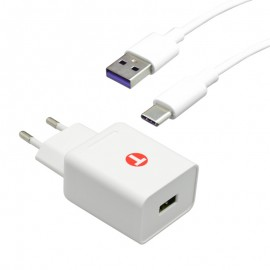 Sieťová nabíjačka 3.4A Quick Charge 3.0 s káblom TypeC 5A 1m, Eco balenie, biela
