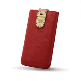 Kožené puzdro NFC RED ANT Čičmany, 4XL, červené, zdobené drievkom