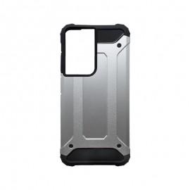 Samsung Galaxy S21 Ultra plastové puzdro, strieborná Military