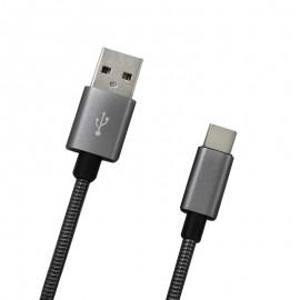Dátový kábel USB-C sivý metalický, 1m, 2A