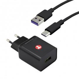 mobilNET sieťová nabíjačka 3.4A Quick Charge 3.0 s konektorom TypeC 5A 1m,18W, Eco balenie, čierna