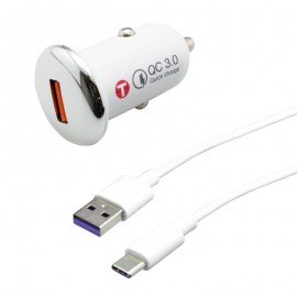 mobilNET nabíjačka do auta 3A (18W) Quick Charge 3.0 s káblom TypeC 5A 1m, Eco balenie, biela