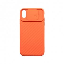 iPhone XR oranžové plastové puzdro, window