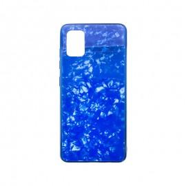 Samsung Galaxy A51 modré sklenené plastové puzdro, Marble Glass