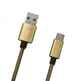 Dátový kábel USB-C zlatý metalický, 1m, 2A