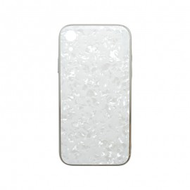 Puzdro Marble Glass iPhone XR biele