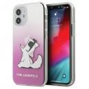 Karl Lagerfeld puzdro na iPhone 12 mini, KLHCP12SCFNRCPI ružová