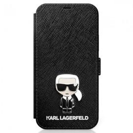 Karl Lagerfeld knižkové puzdro pre iPhone 12 Pro Max, KLFLBKP12LIKMSBK čierna