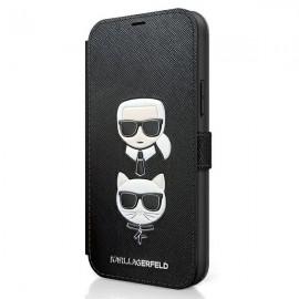 Karl Lagerfeld knižkové puzdro pre iPhone 12, iPhone 12 Pro, KLFLBKP12MSAKICKCBK čierna