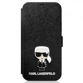 Karl Lagerfeld knižkové puzdro pre iPhone 12 mini, KLFLBKP12SIKMSBK čierna