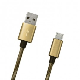 Dátový kábel micro USB zlatý metalický, 1m, 2A