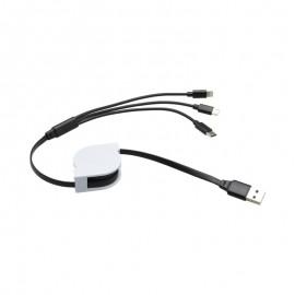 Čierny vyťahovací kábel 3v1 MicroUSB, TypeC, Lighting