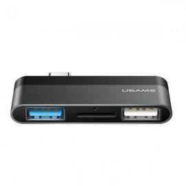 USAMS adaptér USB-C Mini HUB 2xUSB + microSD, sivý US-SJ463