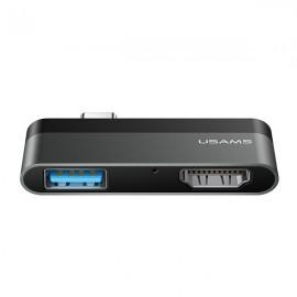 USAMS adaptér USB-C Mini HUB - USB + HDMI,  sivý US-SJ462