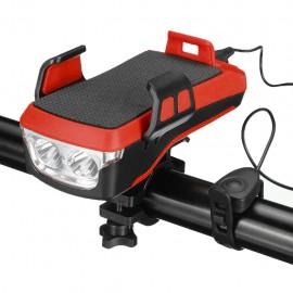 Červený bike držiak so svetlom a 4000mAh batériou