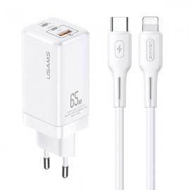USAMS sieťová nabíjačka 65W, 2 x USB-C + USB, Power Delivery + Lighting, biela