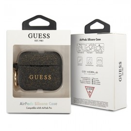 Guess puzdro na Apple AirPods Pro, Silicone Glitter, čierna