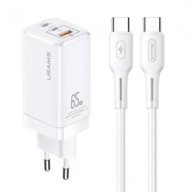 USAMS sieťová nabíjačka 65W, 2 x USB-C + USB, Power Delivery + USB-C, biela