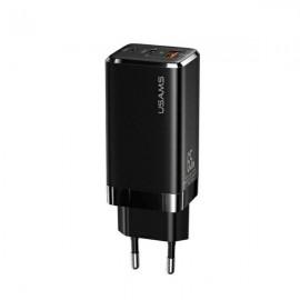 USAMS nabíjací adaptér 65W, 2 x USB-C+ USB, Power Delivery, Fast Charging, čierna
