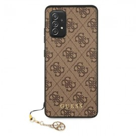 Guess puzdro na Samsung Galaxy A52 4G A525/A526, Charms Collection, hnedá