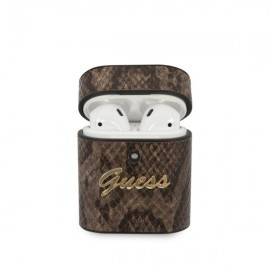 Guess puzdro na Apple AirPods, Python Collection, hnedá