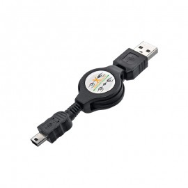 Nabíjací kábel USB / mini USB vyťahovací