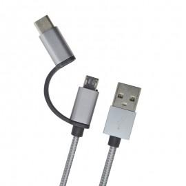 Kábel 2v1 USB-C / micro USB sivý, 1 m, 2.4A