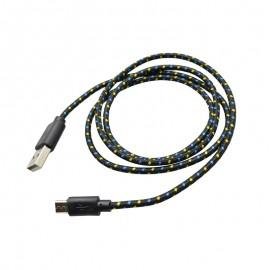 Textilný dátový kábel micro USB, čierny
