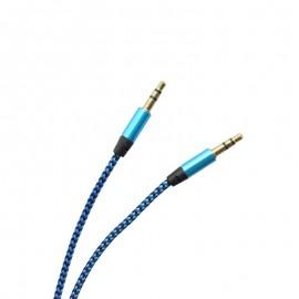 Textilný AUX kábel 2 x 3.5 mm jack modro - čierny