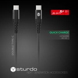 Textilný kábel Sturdo 2x USB Type C, čierny, 1m, 2,4 A
