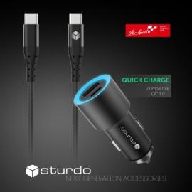 Autonabíjačka Sturdo USB Type C, čierna 2.4A + kábel