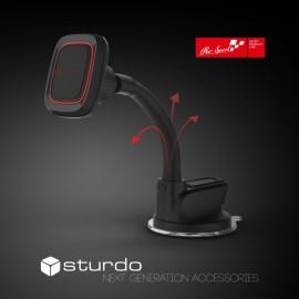 Magnetický držiak do auta STURDO Pro Sport čierny s nano prísavkou