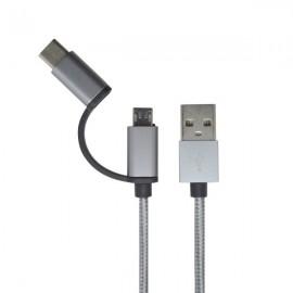 Kábel 2v1 - USB typC, microUSB, sivý, 1m, 2.4A