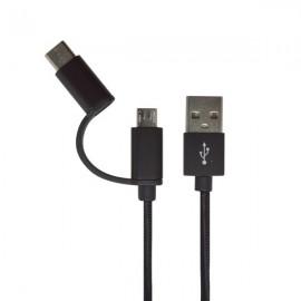 Kábel 2v1 - USB typC, microUSB, čierny, 1m, 2.4A