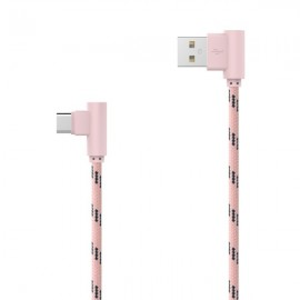 Textilný dátový kábel USB typ C ružový lomený 2m 2.4A