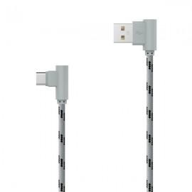 Textilný dátový kábel USB typ C sivý lomený 2m 2.4A