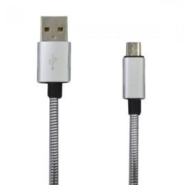 Kábel micro USB 2A 1m strieborný