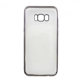 Gumené puzdro Samsung Galaxy S8 Plus, priehľadné, čierny rám