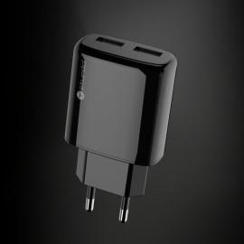 Sieťový nabíjací adaptér Sturdo 2xUSB, 2A, čierny