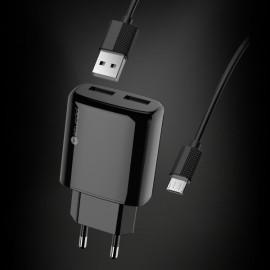 Sieťový nabíjací adaptér s káblom Sturdo 2xUSB, 2A, čierny