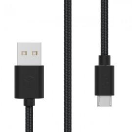 Sturdo dátový textilný kábel micro USB 2A, 1,5 m, čierny