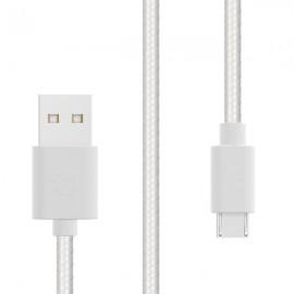 Sturdo dátový textilný kábel micro USB 2A, 1,5 m, biely